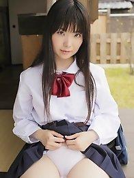 japanese; outdoors; schoolgirl; shaved; solo; teen; uniform;