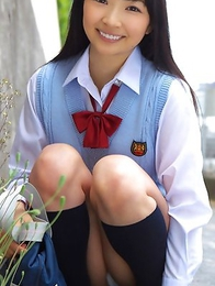 ass; japan idols; japan teens; japanese teens; outdoors; schoolgirls; solo; uniform; upskirt;